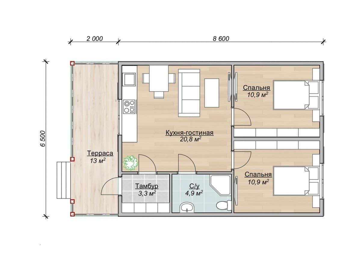 """Одноэтажный каркасный дом. Проект """"Пряничный"""""""