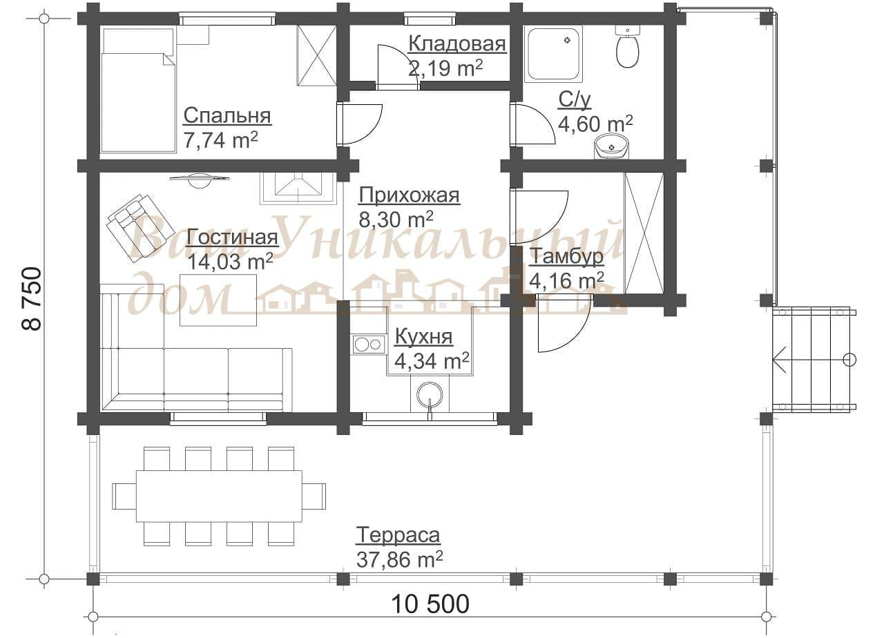 """Дом из профилированного бруса, проект """"Камелия"""""""